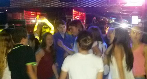 summer school students in nightclub