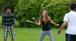summer schools students in London plying rounders