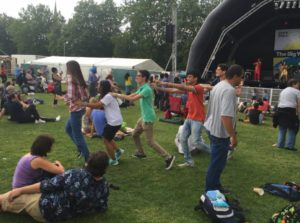 summer school students enjoying festival
