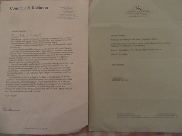 rejection letter jk rowling