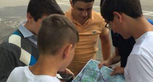 summer school students on treasure hunt in Cambridge