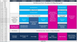 Inspirational Summer Camp 10-13 timetable
