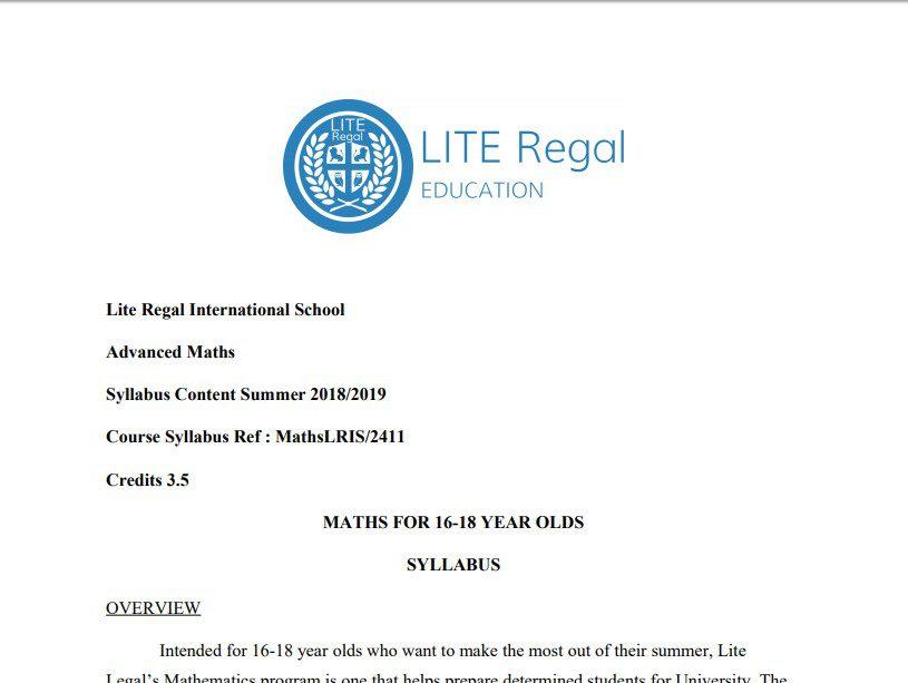 Lite Regal Applied Maths Syllabus 2019 (15-18)