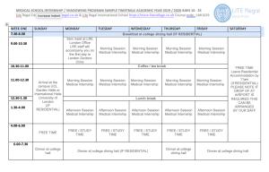 Timetable of medical Internship timetable 1 week - Lite Regal Education