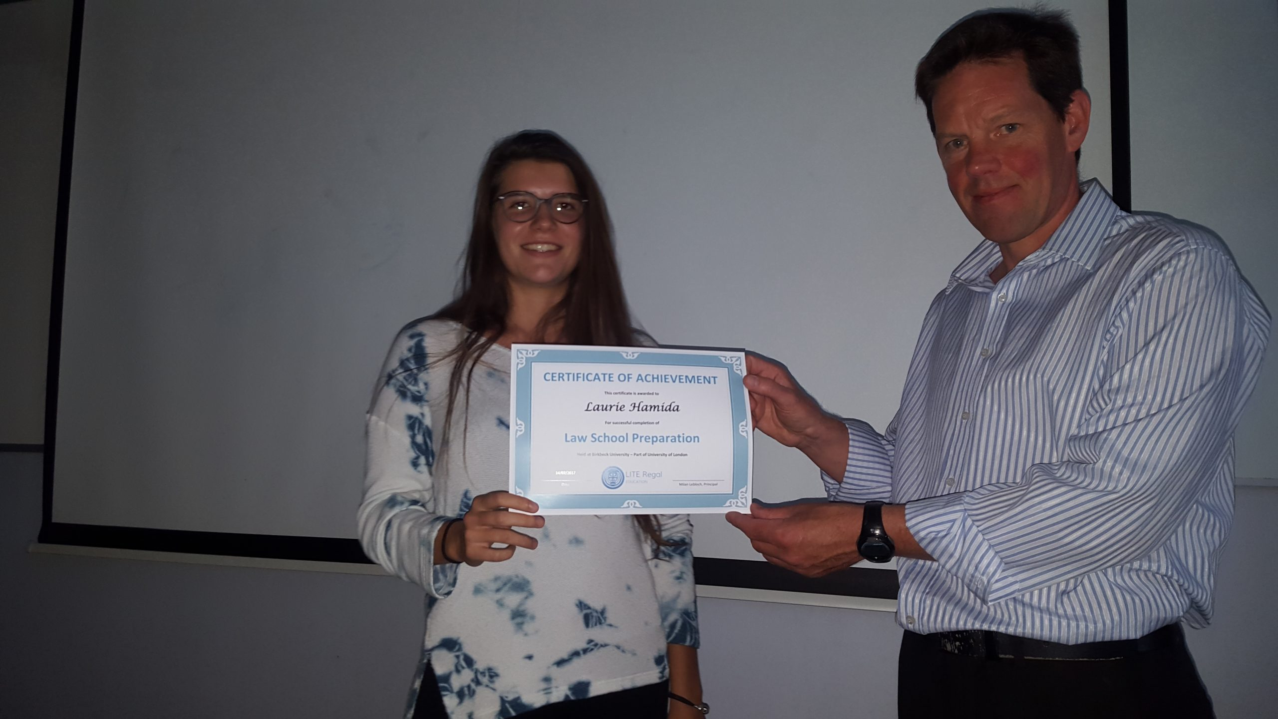 Lite Regal Summer Law Course Student with certificate